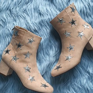 Star Printed Faux Suede Boots