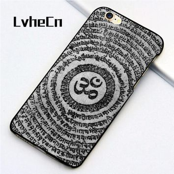iPhone 5 5S SE 6 6S 7 8 Plus X back skin shell Aum Om Symbol Yoga pattern