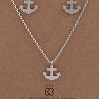 Small Silvertone Anchor Ship Pendant with a 16.5 Inch Link Necklace & Matching Earrings Jewelry Set