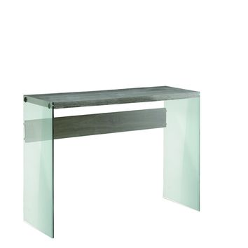 Dark Taupe Reclaimed-Look / Tempered Glass Sofa Table