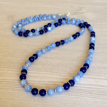 Long Blue Necklace Statement Necklace Long Blue Bead Necklace Modern Necklace Trendy Fashion Valentines Day Birthday Gift For Her Wife Mom