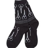 Silver Scissors Ankle Socks
