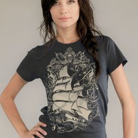 Old World Sailing Ship T-shirt, Organic Cotton Earth Coal, mens tshirt, women's t-shirt gift
