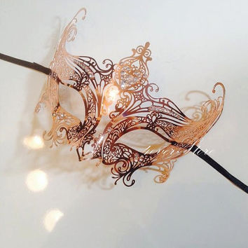 One of a Kind Rose Gold Jewelry - Laser Cut Venetian Masquerade Mask w/ Sparkling Rhinestones - Customized Exclusively by 4everstore