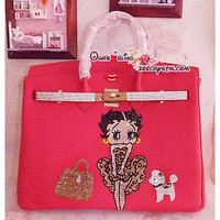 Hermes Birkin Inspired Real Leather Handbag / Purse  with Betty Boop BLING SPARKLY - ZoeCrystal