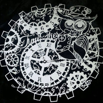 A4 Time Flies Owl Personal use Epic Papercut template