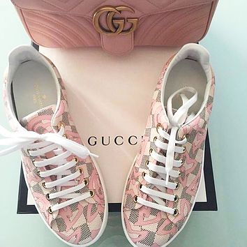LV Louis Vuitton 2018 counter limited edition printing chess women casual shoes F-ALS-XZ pink