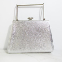 Vintage Purse: Metallic Silver Clutch with Metal Handle