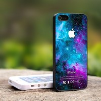 Amazing Galaxy Nebula Apple Logo - For iPhone 4,4S Black Case Cover