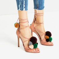 LEATHER HIGH HEEL SANDALS WITH POMPOMS - NEW IN-WOMAN | ZARA United Kingdom