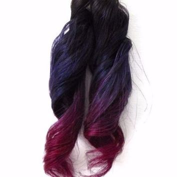4x Clip in Human Hair Extensions Subtle Ombre Purple Magenta Pink with Dark Root