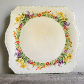 Myott Cake Plate | Vintage Queenston Myott Staffordshire Sandwich Platter | GH3567 Pattern | Garden Flowers | Cottage Chic Garden Party