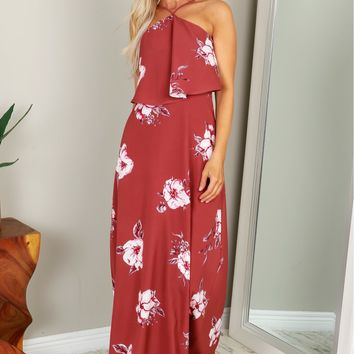 High Neck Floral Maxi Mauve