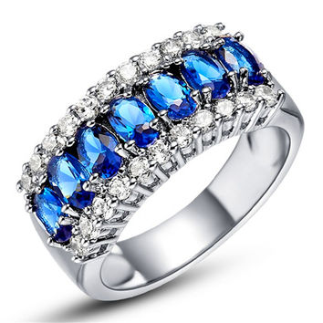Women Sapphire White Gold Filled Ring Lady's 10KT Costume Fashion Jewelry Size 6/7/8/9/10