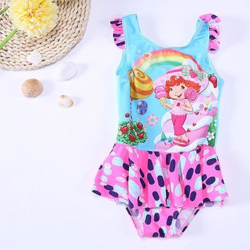 Childrens Swimsuit Cute Kids Swimwear For Girls 2018 Two Piece 2 Swimming Suits Children  New Cute Surf 28055 Animal Polyester Sierra Surfer KO_25_2