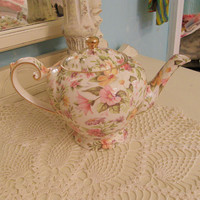 vintage chintz floral tea pot shabby chic by VintageChicFurniture