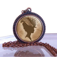 Victorian Silhouette Pendant Necklacce,  Great Holiday Gift  Stocking Stuffers, Silhouette Pendant