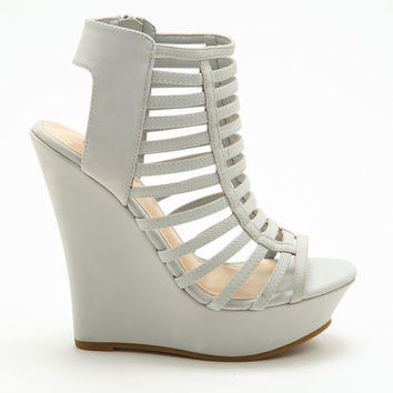 GREY STRAPPY CUT OUT WEDGES