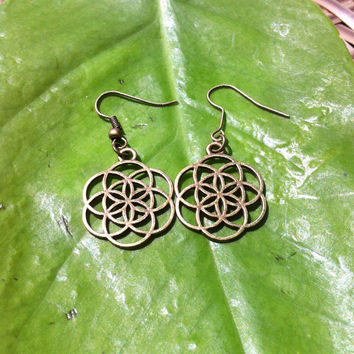 Seed of Life earrings,  Antique brass, sacred geometry , yoga jewellery , bohemian , high detail, Hand made .
