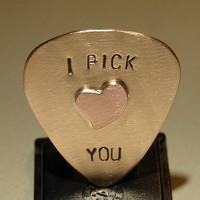 Bronze Guitar Pick with I Pick You and Special Copper Heart