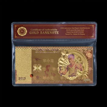 Gold Foil Banknote Value Collection Bruce Lee