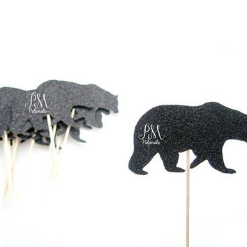 12 Glitter Black Bear Cupcake Toppers  - wild birthday, forest birthday, wild party cake topper, wild one party, boho birthday, forest party