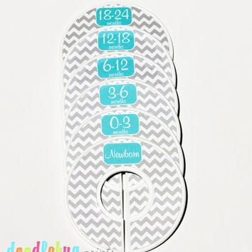 Baby Closet Dividers - Baby Clothing Dividers Gray and White Chevron with Turquoise Nursery Closet Dividers - Assembled