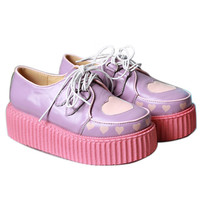 Real Leather Harajuku Cutie Kawaii Decora Pastel Heart Creeper Oxford Platform