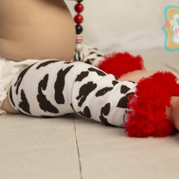 DIY Girl's Cow Print Leg Warmers with Red Ruffle-Jessie Toy Story Birthday-Animal Print Leg Warmers with Red Ruffle