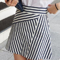 Monochrome Stripe Mini Skirt