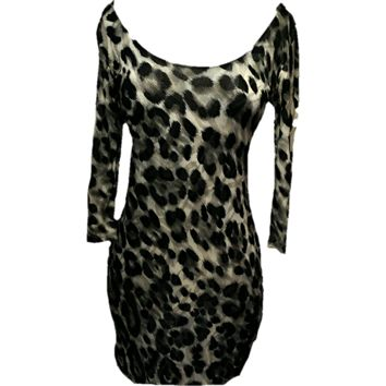 Cheetah print low rounded  neck dress