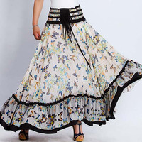 Maxi Ruffles Summer Skirt or Strapless Dress - Long Full Butterfly Print with Elastic Waist - 2 in 1 (0137)