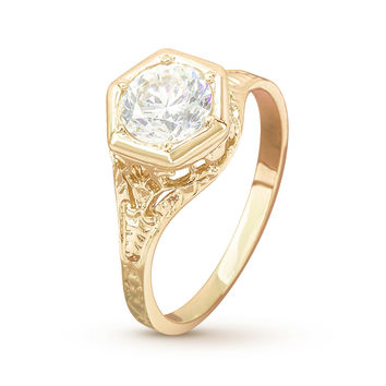 Antique Filigree Yellow Gold Engagement Ring