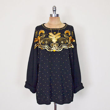 Vintage 80s 90s Black & Gold Bead Sweater Sequin Sweater Trophy Oversize Sweater Oversize Jumper Slouchy Sweater Long Tunic Sweater S M L