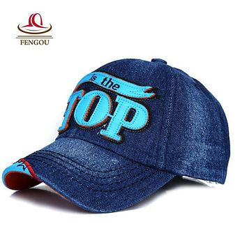 TOP Children Snapback Caps Hip-Hop Cotton Denim Baseball Caps for Kids 4-10 Year old Gorras Planas