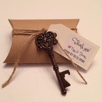 Vintage Key Bottle Opener - Antique Key Beer Opener - Skeleton Key Bottle Opener - Bottle Opener Wedding Favor