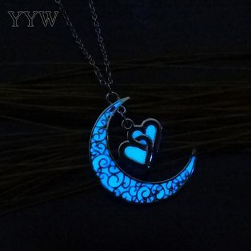 Hot YYW Hollow Moon With Double Love Heart Pendant Luminous Necklace Glowing In The Dark Best Gift For Girlfriend Free Shipping