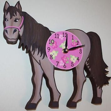 Kids Wall Clock Pretty Pink Horse Bedroom Nursery Wall Clock WC0034