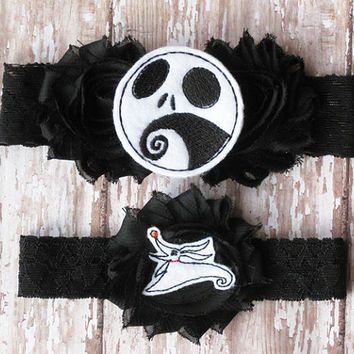 Jack Skellington and Zero Garter Set | Nightmare Before Christmas Wedding Garters | Bridal Garter and Toss Garter