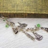 Peter Pan Metal Feather Bookmark with Thimble, Acorn, Fairy, Big Ben, Pirate Ship, Mermaid and Crocodile Charms