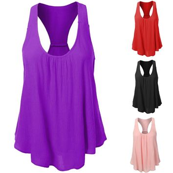 Women Sexy Solid Color Chiffon Sleeveless Back Split Summer Comfortable Tank Top