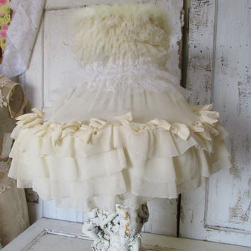 Shabby cottage lamp shade large lighting  petticoat shade decorated with salvaged vintage ivory and white fabric Anita Spero Design