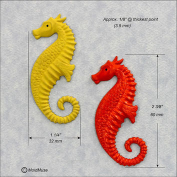 Seahorse Silicone Mold Mould for fondant, resin, polymer clay, chocolate, wax, ceramic clay (264)