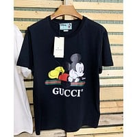Gucci tee mickey mouse print  shirt top tiger black white top round neck black