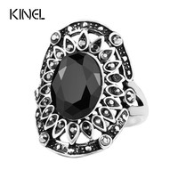 Hot Vintage Black Ring Plating Silver Tibet Alloy Jewelry Unusual The Vampire Diaries Fashion Turquoise Flower Rings For Womens