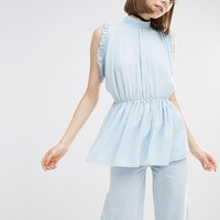 Lost Ink Sleeveless Tunic Top With Ruffle Detail