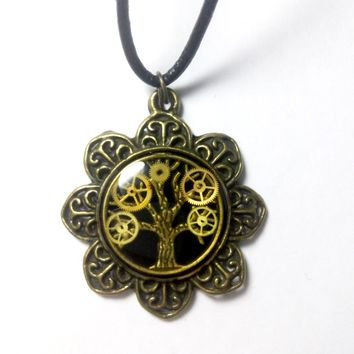 Tree Of Life Steampunk Necklace with Leather Lace