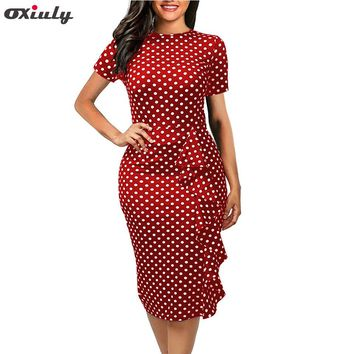 Oxiuly 2017 New vintage Polka Dot print short sleeve puff Natural Round-Neck knee-length Wear to Work Pencil Dress