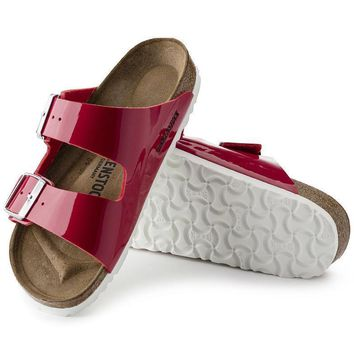 Sale Birkenstock Arizona Birko Flor Patent Tango Red Patent 1005283 Sandals
