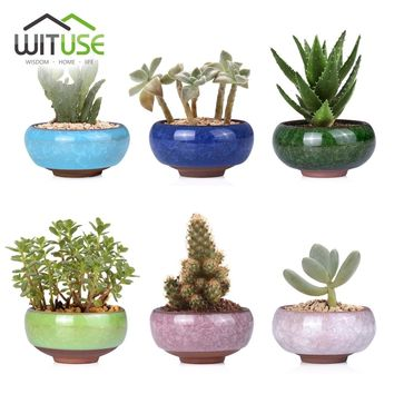 WITUSE Kawaii Flowerpot Chinese Ice-crack Style Ceramics Succulent Planter Pots Tiny Flower Pots Vase For Home Garden Plant